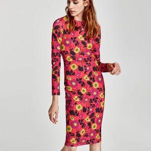 Zara Women's Polyamide Floral Bodycon Dress
